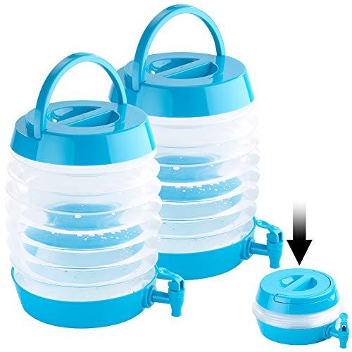 PEARL Wasserspender Camping: 2er Pack Faltbares Fässchen, Auslaufhahn, Ständer, 7,5 Liter (Wasserspender zusammenklappbar)