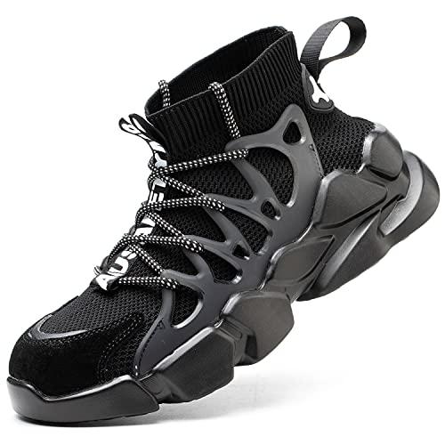 [マンディー] 安全靴 ハイカット あんぜん靴 作業靴 鋼先芯 スニーカー おしゃれ 通気性 ニット風 ソックス ブーツ 軽量 耐滑 厚底 登山靴 FZ-73/黒/45