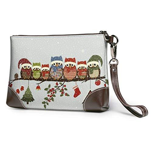 XCNGG Lindos búhos navideños en rama, bolso de mano estampado, bolso de mano de cuero desmontable, bolso de mano para mujer