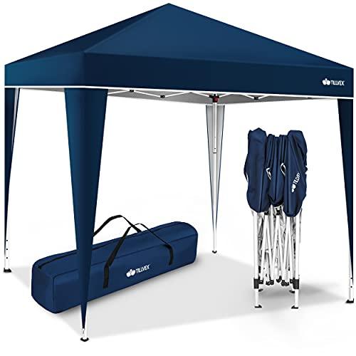 tillvex Pavillon 3x3m wasserdicht | Pop-Up Faltpavillon höhenverstellbar | Gartenzelt UV Schutz 50+ | Partyzelt mit Tasche für Garten (Blau)