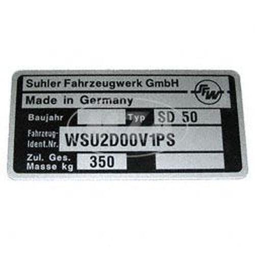 Typenschild - Simson Dreirad SD50 - Suhler Fahrzeugwerk GmbH - 1992 bis 1998