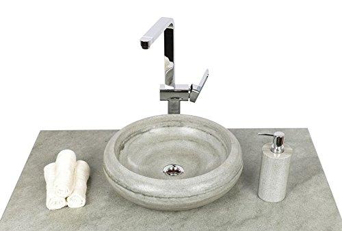 wohnfreuden Sandstein Aufsatz-Waschbecken Asbak 40 cm ✓ grau rund Bad Gäste WC ✓ Handwaschbecken Waschschale Aufsatzwaschbecken für Bad Gäste WC