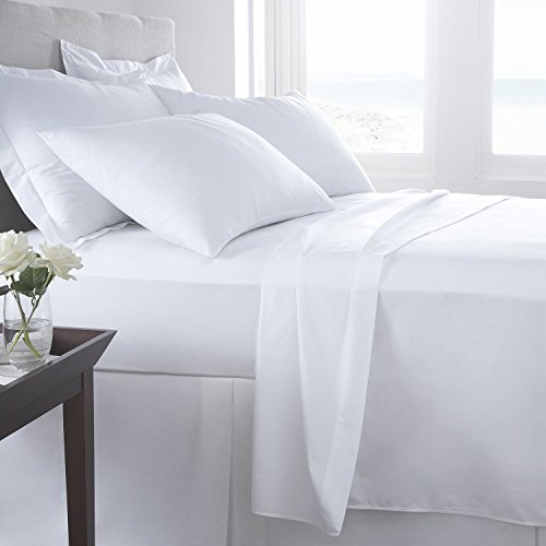 Hachette] (FOUR 4FT SMALL DOUBLE SIZE WHITE 100% EGYPTIAN COTTON FITTED...
