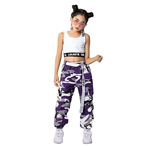 LOLANTA 2 Piezas Niñas Hip Hop Street Dance Solo Ropa Set Crop Tank Top+Camuflaje Jogger Pantalones, Morado, 160