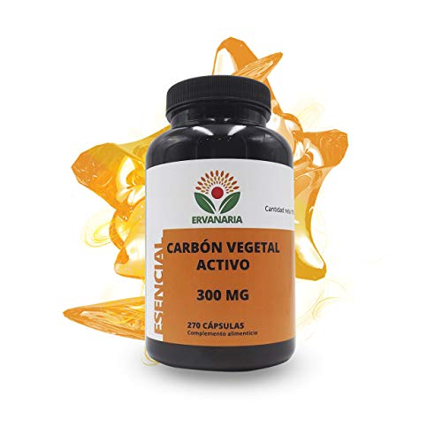 Ervanaria Carbón Vegetal Activado 300 Mg 270 Capsulas, mejora tu digestión, contra la acidez estomacal, combate el mal aliento y la halitosis, elimina los gases, efectivo en caso de intoxicaciones.
