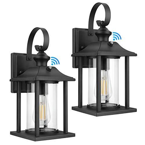 2-Pack Dusk to Dawn Sensor Outdoor Wall Lantern, Exterior Wall Mount Light Fixture with E26 Base Socket, 100% Anti-Rust Aluminum Waterproof Porch Light, Clear Glass Matte Black Wall Sconce for Doorway