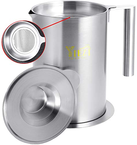 1.8 L / 1.9 Quart Oil Strainer and Container, SUS 304# 18-8 Stainless Steel Grease Can for Kitchen Cooking, Easy to Clean Bacon Grease Keeper with Drip Pan