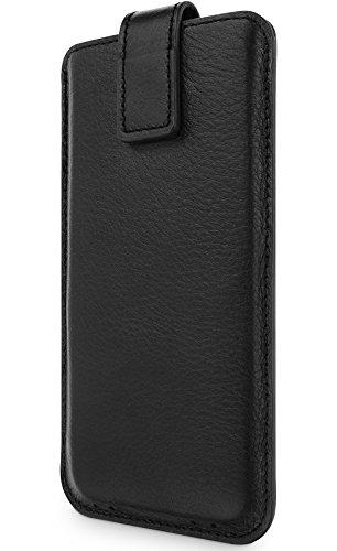 WIIUKA Echt Ledertasche - Close - für Apple iPhone SE (2020), iPhone 8/7 & iPhone 6/6S, extra Dünn, Schwarz, mit Rausziehband, Premium Design Hülle