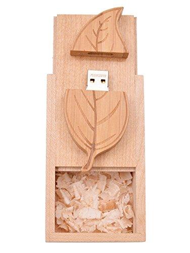 USB Stick 32GB Holz Blatt USB 2.0 Flash Laufwerk mit Walnuss-Box Speicherstick Pendrive Datenablage Memory Stick 32 GB Flash Drive by FEBNISCTE