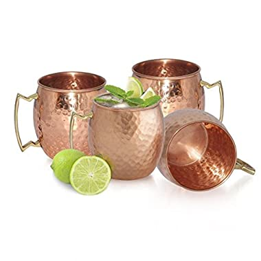 Chef's Star Set of 4 Handmade Hammered Copper Moscow Mule Mug - 100% Pure Copper with Brass Handle - Hammered Moscow Mule Mug Cup