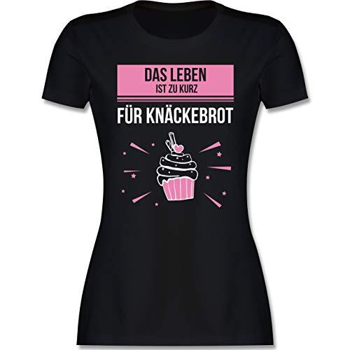 Statement - Das Leben ist zu Kurz für Knäckebrot - XXL - Schwarz - Kurzarm - L191 - Tailliertes Tshirt für Damen und Frauen T-Shirt