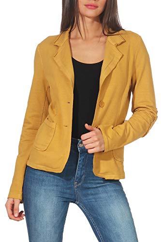Malito Clásico Chaqueta en el Básico Chaqueta del Sudor Business 1651 Mujer (XL, Amarillo)