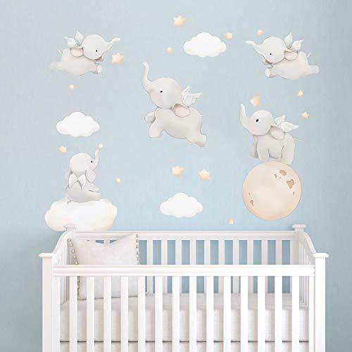 Runtoo Adesivi Murali Elefanti Adesivi da Parete Motivazionali Dumbo Animali Decorazioni Muro Cameretta Neonato Bambini