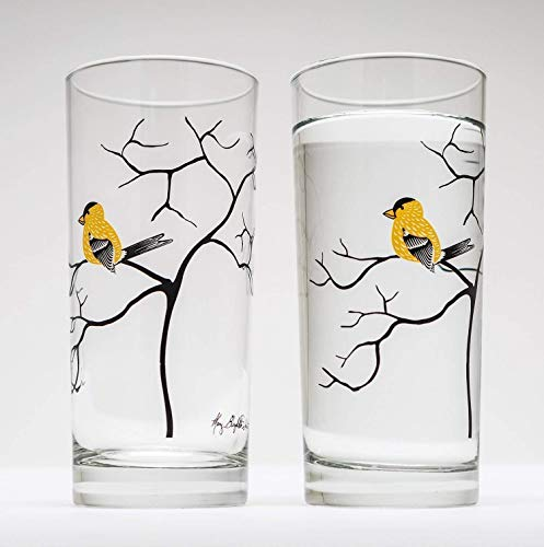 Yellow Finches Drinking Glasses - Gift Set of 2 Highball Glass, Cocktail Barware, Made in the USA