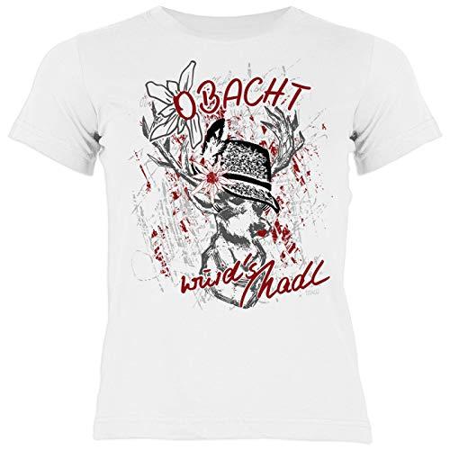 Kinder-Trachten-Shirt mit Hirsch/REH-Motiv/bayerischer Spruch für Mädchen: Obacht wuid´s MADL