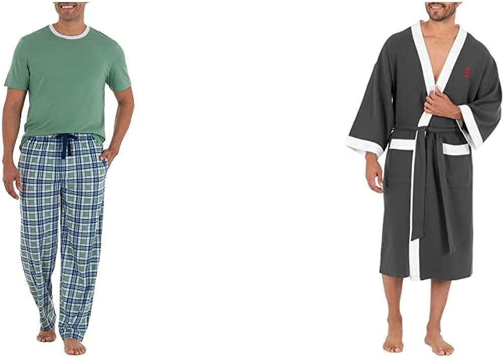 IZOD Men's Short Sleeve Jersey Knit Top and Lite Touch Fleece Pants Sleep Set, Green, Large & Waffle Knit Kimono Robe, Charcoal Heather, One Size
