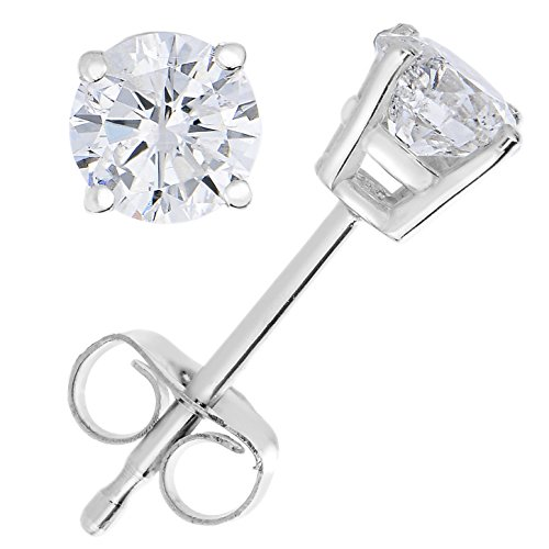 1/4 cttw Diamond Stud Earrings 14K White Gold Push Backs Round 4 Prong Basket