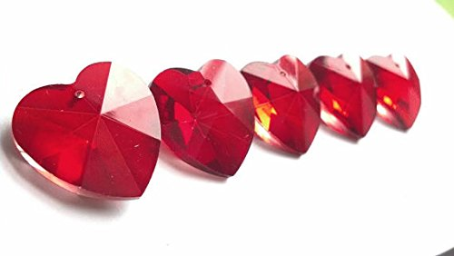5 Chandelier Crystal 28mm Hearts Red