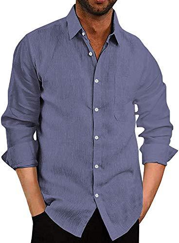 COOFANDY Herren Hemd Langarm Freizeithemd Leinenhemd aus Baumwolle Einfarbig Basic