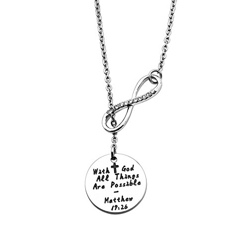 ENSIANTH Religious Bracelet Charm With God All Things are Possible Cross Necklace Pearl Bracelet (With God Necklace)