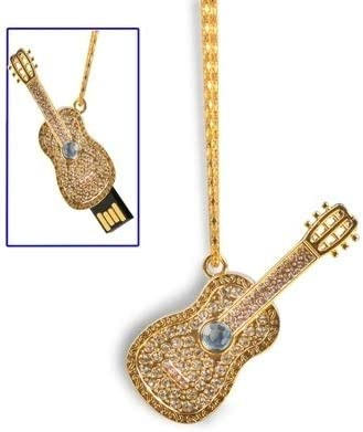 CAOMING 2021 spring and summer Latest item new Guitar Necklace Style USB Golden Disk 2.0 Flash 4GB