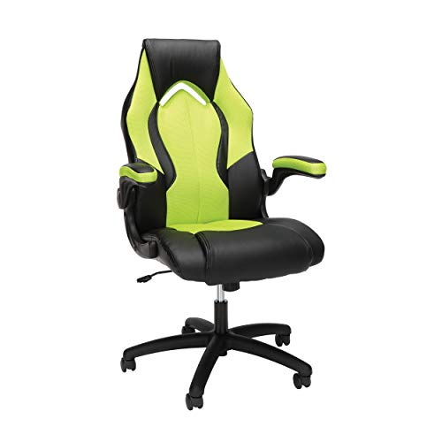 OFM ESS Collection High-Back Racing Style Bonded Leather Gaming Chair, in Green (ESS-3086-GRN)