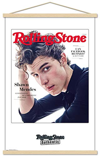 Trends International Rolling Stone Magazine - Shawn Mendes 18 Wall Poster with Wooden Magnetic Frame, 22.375' x 34', Print and Beechwood Hanger Bundle