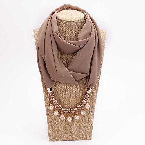 Schal Damen Schal Halskette Für Frauen Mode Perlen Schmuck Halskette Von Muslimischen Sonnenschutz Wrapped Chiffon Schal Geschenk 1