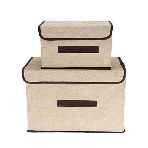 Emoshayoga Caja de Almacenamiento de Ropa Plegable Caja de Almacenamiento de Ropa 2 PCS/Set Robusto para Libros de Ropa(Off-White)