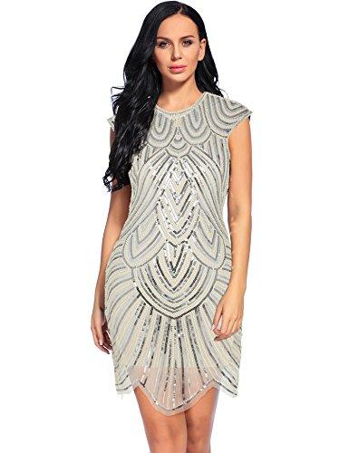 1920s Gatsby Sequin Embellished Mesh Flapper Dresses (M, Beige)