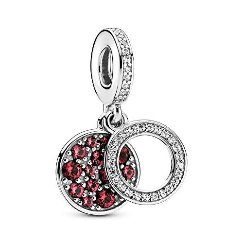 LISHOU Charm Beads 925 Plata De Ley Muérdago Colgante Moda Diamante Cristal Se Adapta A Pulsera Collar para Mujeres Niñas Esposa Hija Joyería De Bricolaje Fabricación De Regalos Plata-Rojo