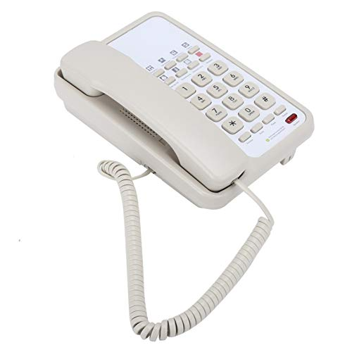 Socobeta Teléfono de Escritorio Impermeable Instalación de Montaje en Pared Teléfono Fijo Línea Fija para Uso en el hogar de Oficina Comercial(White)