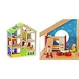 Hape Casa de muñecas Madera Grande con Muebles (Barrutoys HAP-E3401) + Chambre D'Enfant