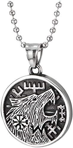 NC110 Collar con Colgante de Medalla Circular con Cabeza de Lobo Retro de Acero Inoxidable para Hombre, Collar con Encanto clásico Retro con Personalidad YUAHJIGE