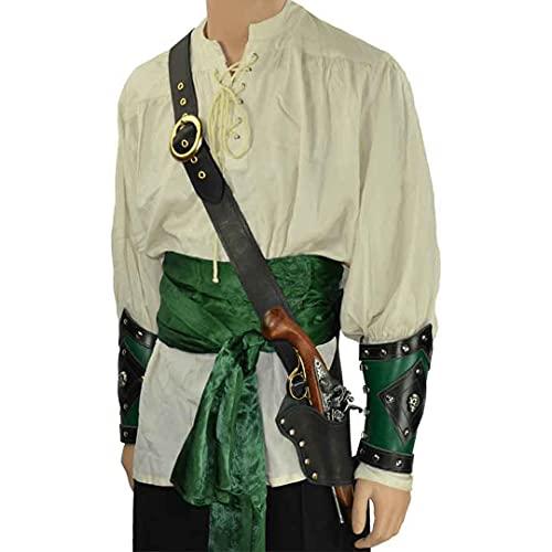 Mooke Pistolera De Pistola De Un Hombro Vintage - Accesorios Medievales De Helloween Pistolera De Chispa Pirata Disfraces De Cosplay Bolsa De Pistola Gtica Cinturn De Hombro Ajustable,Negro