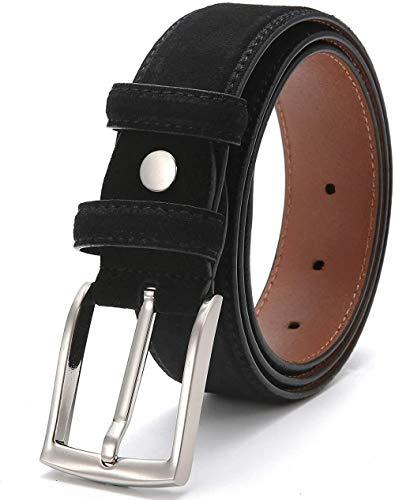Cula Cinturones de Cuero para Hombres, cinturón de Gamuza Engrosada de 34 mm de Ancho con Hebilla Enrollable para Trajes/Jeans/Ropa Informal/Formal, Negro, Talla 42 (Cintura 40)