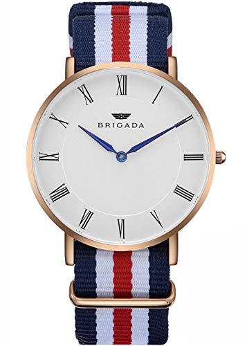BRIGADA Men's Watches Nice Fashion Minimalist Men's Dress Watch Waterproof, Rose Gold Case Business Casual Nylon Band Men's Wrist Watch Swiss Brand