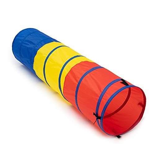 Tienda de campaña tipo túnel plegable, tricolor Pop Up túnel (rojo, amarillo y azul), tienda de campaña portátil para niños, divertidos juegos túnel – 180 x 46 cm (tamaño: 180 x 46 cm)