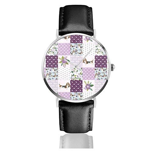Basset Hound Pet Quilting C Cheater Colcha Perro Raza Tela Whollopper Clásico Casual Moda Reloj de Cuarzo Acero Inoxidable Correa de Cuero Relojes