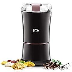 KYG Kaffekvarn 300W Elektrisk kaffekvarn kaffebönor nötter Kryddor Kornkvarn med rostfritt stål Kniv 50g Kapacitet Svart MOREWEG