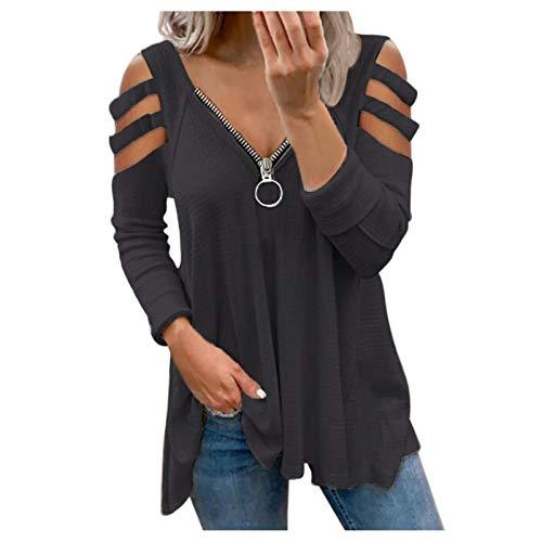 Succper Damen Chiffon Blusen Elegante Reißverschluss Langarmshirts Bluse Tunika Oberteile T-Shirt V-Ausschnitt Tops Damen T-Shirt Sommer Tunika Lose Oberteil V-Ausschnitt Tops Tops
