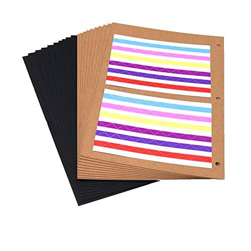 ThxMadam Scrapbooking Album Pagine Carta 26x17,5CM, Extra Refill Pagine 10pcs Carta Nera + 10pcs Carta Kraft Bianca Interna del Libro Fotografico per Scrapbook Fai da Te Foto Album 27,5x20,5CM