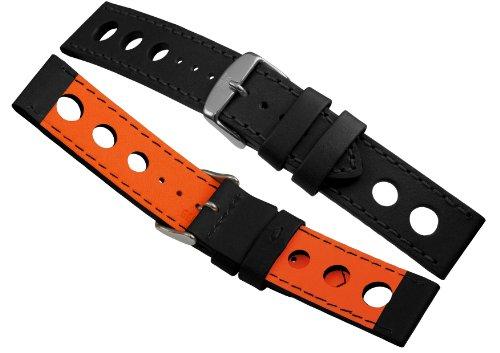 Davis - Cinturino Orologio Racing Pelle Nero 22mm Alta Qualità