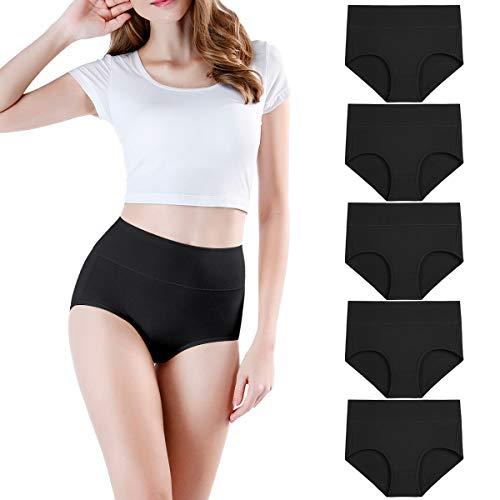 wirarpa Women's Cotton High Waist Underwear Full Coverage Underpants Post Partum Briefs Panties Plus Size Black, Size 7