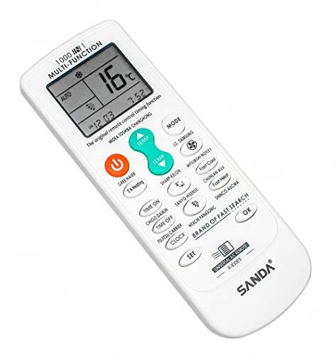 SANDA Mando a Distancia 1000 en 1 para Aire Acondicionado - Bomba de Calor, Universal con Lista de codigos Multi Funcion climatizador inversor de Temperatura con Pantalla Control Remoto
