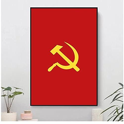 FUXUERUI Bandiera Comunista Falce e Martello Simbolo Tela Wall Art Stampa Immagini e Poster per Soggiorno Decor,42x60cm Senza Cornice