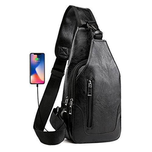 Seoky Rop Men Sling Bag Anti Theft Shoulder Bag Small Leather Crossbody Sling Backpack with USB Charge Port Black