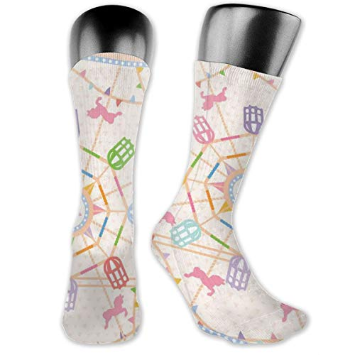 Papalikz Compression Medium Calf Socks,Abstract Circus Theme Flattened Ferris Wheel And Merry-Go-Round Attractions