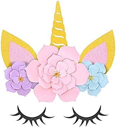 Unicorn Party Supplies and Decorations Backdrop for Girls Birthday Party Baby shower - DIY Unicorn Flower Backdrop with Glitter Giant Horn Ears Eyelashes