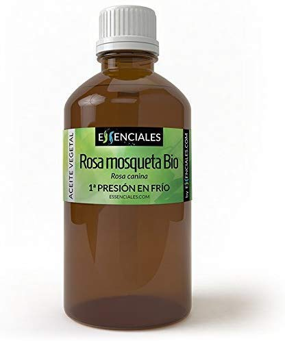 Essenciales - Aceite Vegetal de Rosa Mosqueta BIO, 100% Puro y con Certificado ECOLÓGICO, 100 ml | Aceite Vegetal Rosa Canina, 1ª Presión Frío